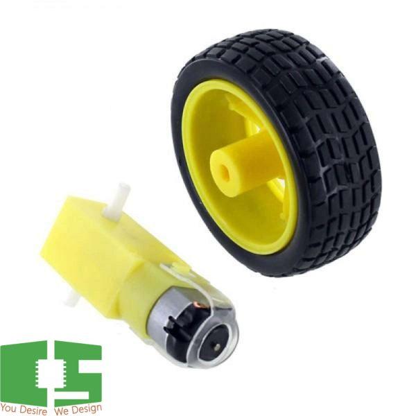 Robot DC Gear Motor + Car Wheel Diameter 65MM Thickness 28MM Chipspace