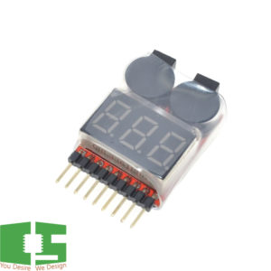 Low Voltage Buzzer Alarm 1-8S Lipo Li-ion Battery Voltage Tester