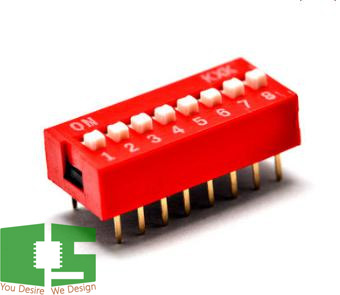 8-Pin Flat Dial Switch 2.54mm Chipspace