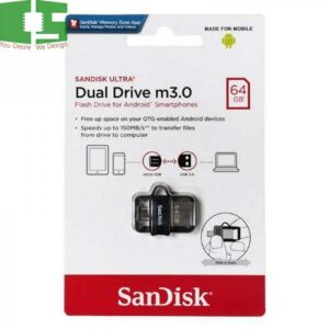 SanDisk 64GB Ultra Dual Drive MicroUSB M3.0 for Android Devices & Computers Chipspace